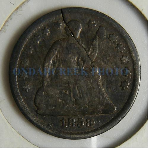 1858 Seated Liberty Half Dime Cracked Planchet Error