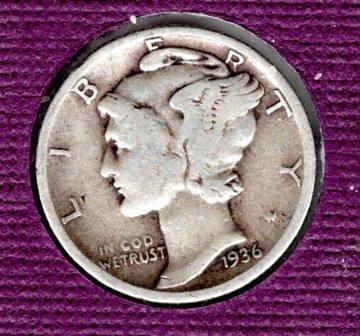 1936 p Mercury Dime - #4