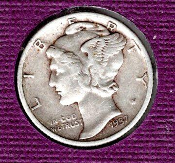1937 P Mercury Dimes - #4