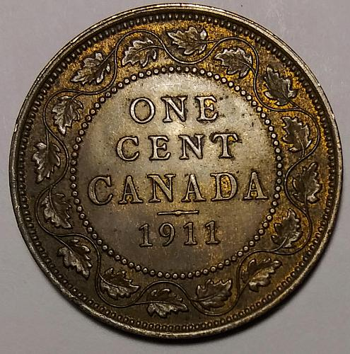 XF+++ 1911 CANADA LARGE CENT -- NICELY TONED
