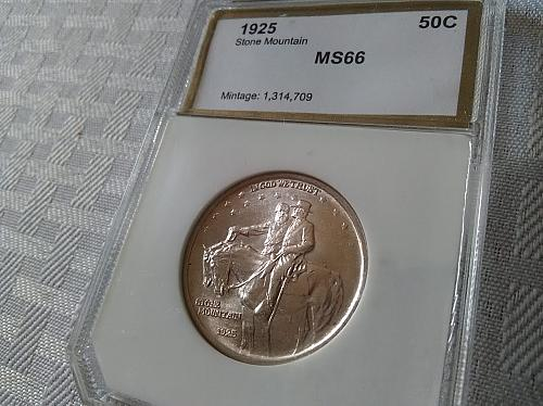 1925 Stone Mountain Half Dollar PCI MS 66 Bright white Gem BU $91.50 with free