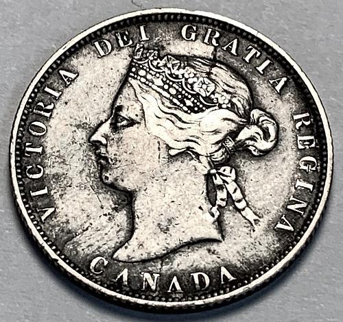 SCARCE! 1874-H Canada 25 Cents Victoria F15 [FC 24]