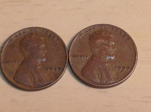 1939 P-S Lincoln wheat cents