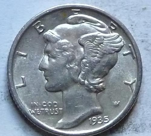 1935-P AU  Mercury Dime About Uncirculated ( 580)