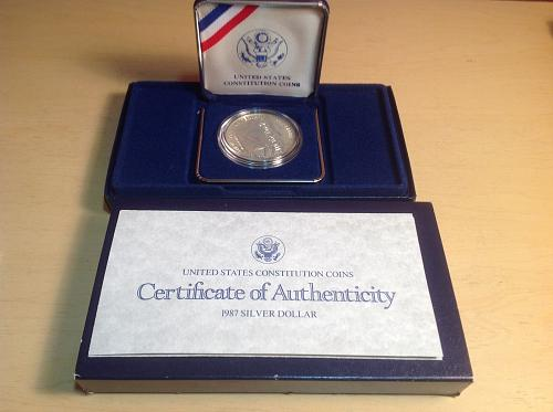 US Mint Constitution Proof Silver Dollar 1987 Commemorative Coin