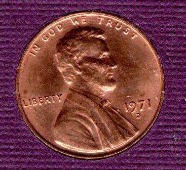 1971 d Lincoln Memorial Penny - #6