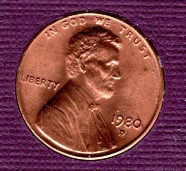 1980 d Lincoln Memorial Penny - UNC - #5