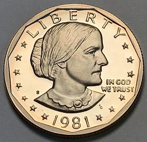 """1981-S Type 1 """"Filled S"""" Proof Susan B Anthony Dollar [IKS 20]"""