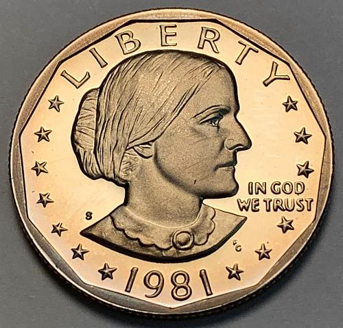 "1981-S Type 1 ""Filled S"" Proof Susan B Anthony Dollar [IKS 22]"