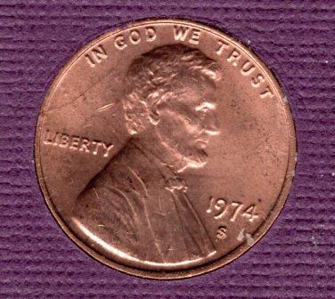 1974 S Lincoln Memorial Cent Small Cents - #6
