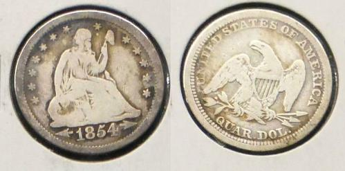1854 Silver Liberty Seated Quarter
