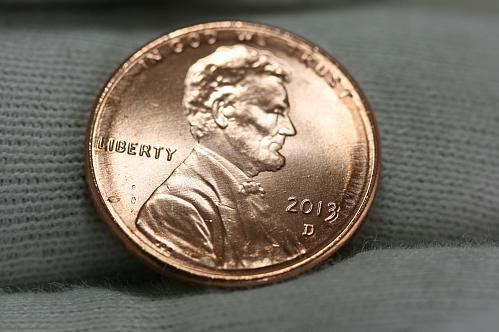 2013 D  MS  double 3 shield Lincoln cent  mint error