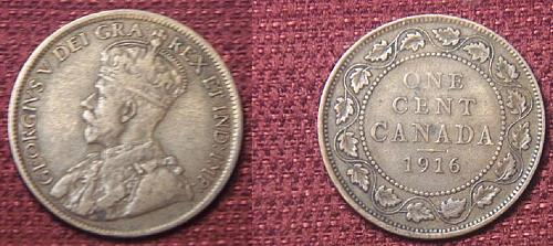 1916 Canadian Large Cent Penny