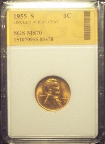 1955 S Lincoln Memorial Penny Cent BU UNC SGS MS70