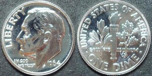 1964 SILVER PROOF ROOSEVELT DIME COIN
