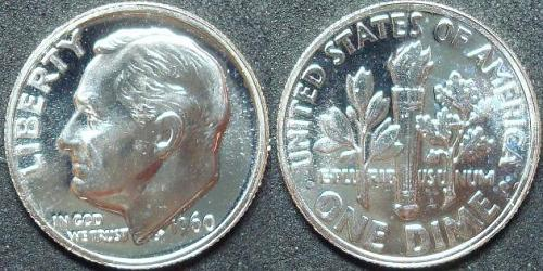 1960 SILVER PROOF ROOSEVELT DIME COIN