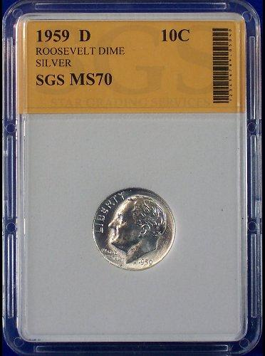 1959 D SGS Certified MS70 PERFECT UNCIRCULATED SILVER ROOSEVELT DIME!