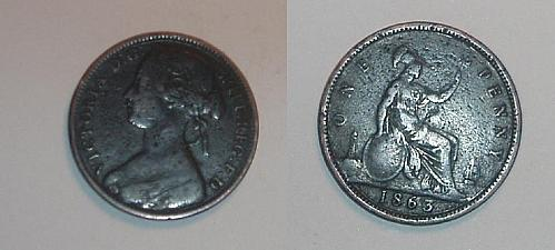 Great Britain 1863 1 penny coin very good