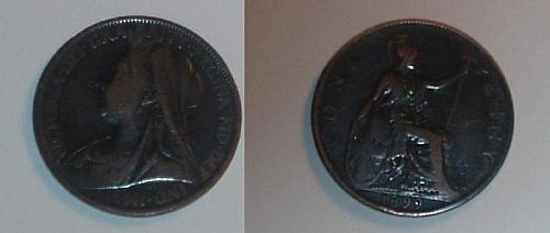 Great Britain 1899 1 penny coin near very fine