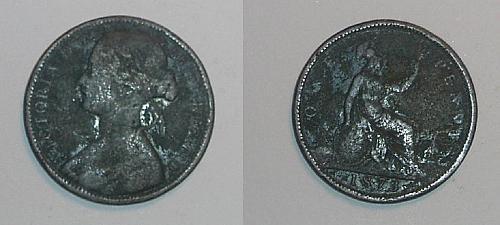 Great Britain 1873 1 penny coin heavy patina