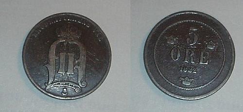 SWEDEN 1882 5 ore coin fine