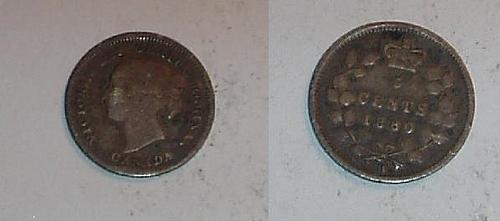 CANADA 1880H silver 5 cent coin good/very good