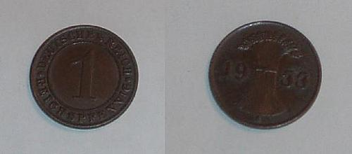 GERMANY 1933A 1 pfennig coin extra fine