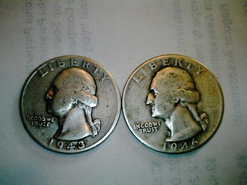 1946-D and 1943, Silver Washington Quarters
