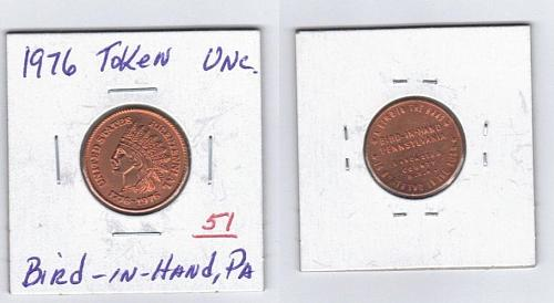 Copper BU 1976 token,looks like IHP,reverse is Bird-in-Hand,Pa.Amish Country USA