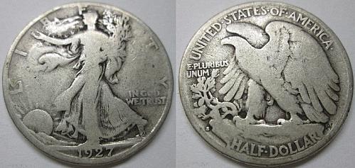 1927 S WALKING LIBERTY HALF DOLLAR NICE 90% SILVER ORIGINAL