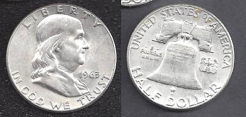 1963 FRANKLIN  HALF DOLLAR NICE 90% SILVER ORIGINAL