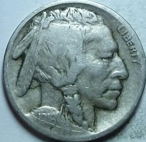 1916-P Grades VERY GOOD Buffalo Nickel Coin ( 372-E )