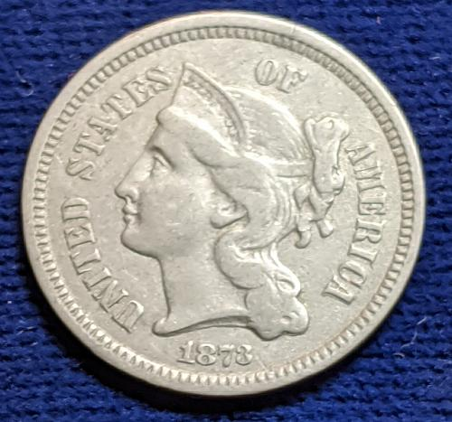 1873 CLOSED 3,  VERY FINE THREE CENT NICKEL