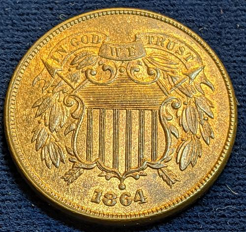 1864 LARGE MOTTO CHOICE BU TWO CENT PIECE