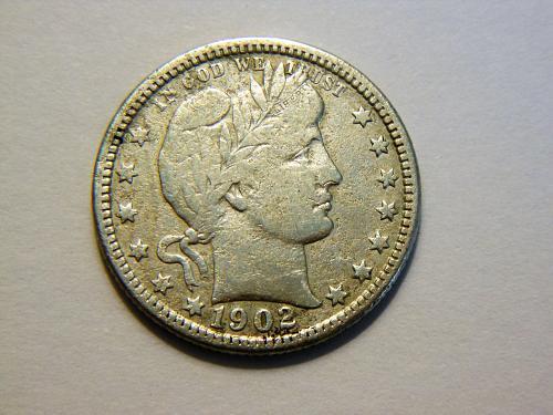 1902-O Silver Barber Quarter