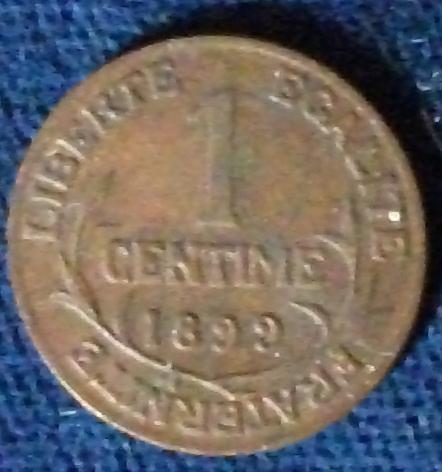 1899 France Centime VF+