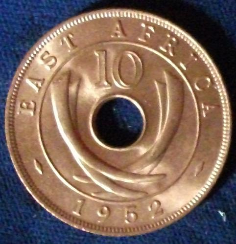 1952 East Africa 10 Cents BU