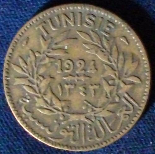 AH1343/1924 Tunisia 2 Francs Fine+