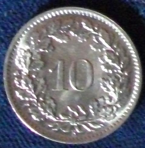 1966 Switzerland 10 Rappen BU