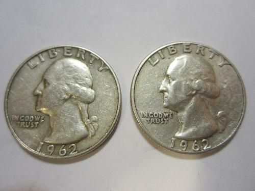 90% Silver 1962 P&D Washington Quarters.