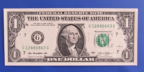 2013 $1 US Banknote - G Seal - Bank of Chicago - CRISP UNCIRCULATED
