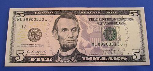 2013 $5 US Banknote -- CRISP UNCIRCULATED