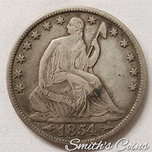 1854-O ~ Seated Liberty Half Dollar ~ Arrows ~ VF 35