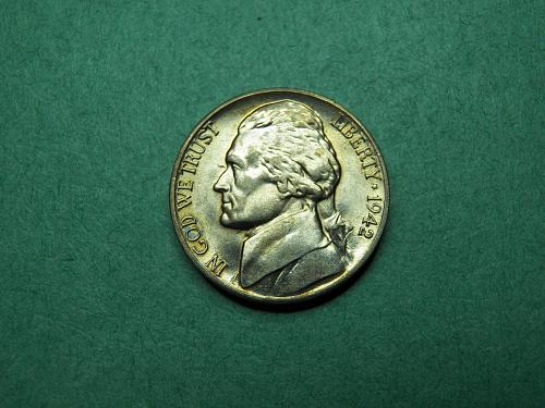 1942 D Type I Jefferson Nickel Brilliant Uncirculated Coin   v77
