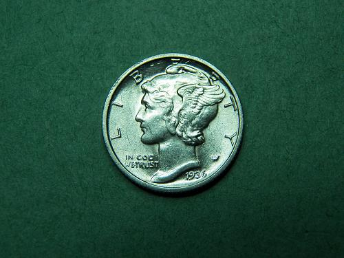 1936 D Mercury Dime Almost Uncirculated Coin   v92