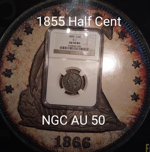 1855 Half Cent NGC AU 50 Brown