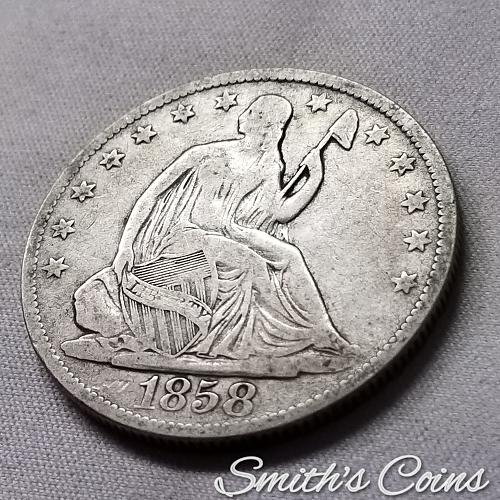 1858 O ~ Seated Liberty Half Dollar ~ VG