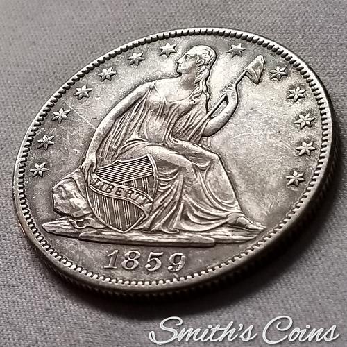 1859 O ~ Seated Liberty Half Dollar ~ AU