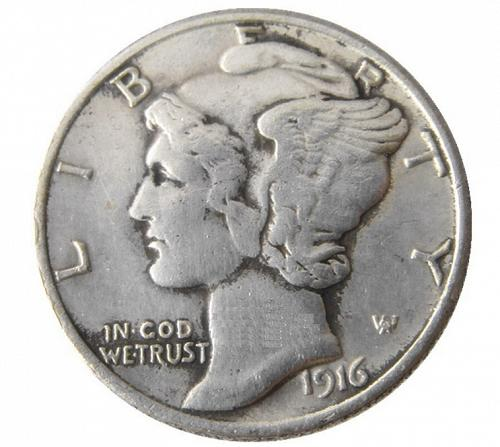 1916 S Mercury Dime with 'COPY' Stamped on reverse