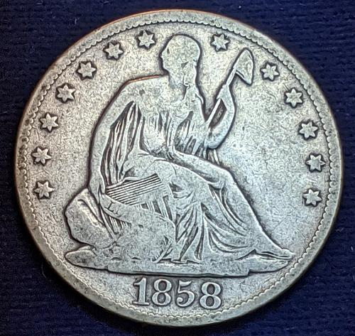 1858-0 VERY GOOD LIBERTY SEATED HALF DOLLAR